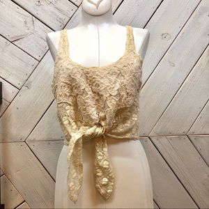 Pins and Needles Crochet Lace Tie Front Crop Top
